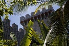 Kasztel widzieć niedawno budujących bananowych drzew i kokosowych drzew ` liście w Phan Tiet, Wietnam Zdjęcie Stock