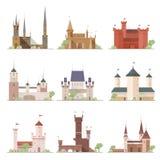 Kasztele i fortecy ustawiający Płaskiego kreskówka stylu wektorowe ilustracje inkasowe royalty ilustracja
