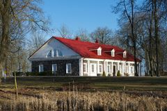 Kasztele w Lithuania Bistrampolis pałac w Lithuania Historyczny pałac w Neoklasycznym stylu Historyczny budynek w Lithuania f Obraz Stock