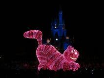 Kat Alice en Chieshire in de nachtParade van Disney stock foto's