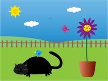 Kat & vogel in slaap in de tuin stock illustratie