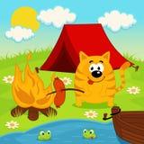 Kat bij het kamperen royalty-vrije illustratie