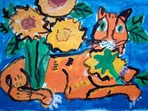 Kat in bloemen - gouache schilderen gemaakt door kind royalty-vrije illustratie
