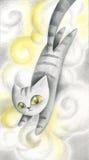 Kat in de wolken - kunstwerk stock illustratie