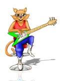 Kat die een Elektrische Gitaar houdt Stock Afbeelding