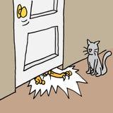 Kat die onder deur handtastelijk wordt Royalty-vrije Stock Foto