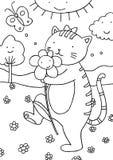 Kat die in openlucht Pagina kleurt Royalty-vrije Stock Foto's