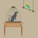 Kat in een kooi Vector Illustratie