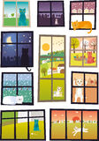 Kat in elk venster Royalty-vrije Stock Afbeeldingen