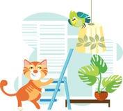 Kat en een papegaai Stock Afbeeldingen