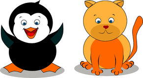 Kat en een pinguïn Stock Foto