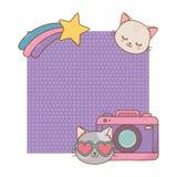 Kat en fotografisch camerakader stock illustratie