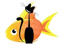 Kat en gouden vissen Royalty-vrije Stock Fotografie