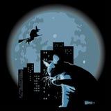 Kat en heks tegen volle maan royalty-vrije illustratie