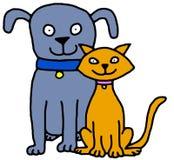 Kat en Hond Stock Foto