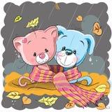 Kat en hond in een sjaal royalty-vrije illustratie