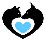 Kat en hond in het hart Royalty-vrije Stock Foto