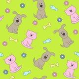 Kat en hond naadloos patroon Stock Afbeeldingen