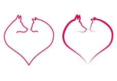 Kat en hond in rood hart, vector Stock Fotografie