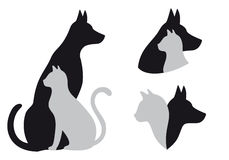 Kat en hond, vector vector illustratie