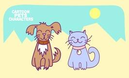 Kat en hondbeeldverhaalkarakters Stock Afbeeldingen