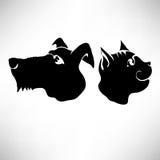 Kat en Hondenhoofden Royalty-vrije Stock Afbeeldingen