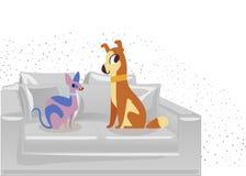 Kat en Hondkarakters beste gelukkige vrienden Hond en kattensfinxzitting op de laag Vector vlakke beeldverhaalillustratie op w stock illustratie