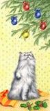 Kat en Kerstmisboom - kunstwerk Stock Foto's