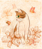 Kat en lelies. Stock Foto