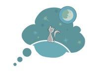 Kat en maan royalty-vrije illustratie