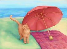 Kat en paraplu Stock Fotografie
