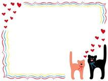 Kat en Pot met harten Royalty-vrije Stock Fotografie