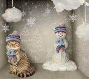 Kat en Sneeuwman stock fotografie