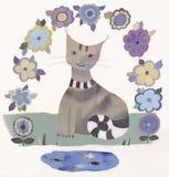 Kat en vissen Stock Afbeeldingen