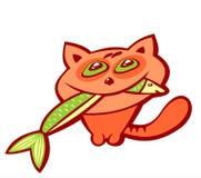 Kat en vissen stock illustratie