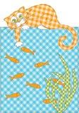 Kat en vissen stock afbeelding