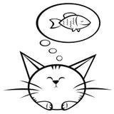 Kat en vissen royalty-vrije illustratie