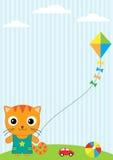 Kat en vlieger stock illustratie