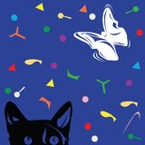 Kat en vlinder Royalty-vrije Stock Foto's