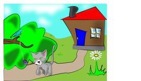 kat en vogel Royalty-vrije Stock Foto's