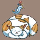 Kat en vogel Royalty-vrije Stock Afbeeldingen