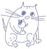 Kat en vogel Stock Afbeelding