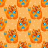 Kat en vogel naadloos patroon Stock Foto
