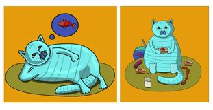 Kat en zijn droom Royalty-vrije Stock Fotografie
