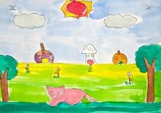 Kat en zonnige dag, de tekening van het kind Royalty-vrije Stock Fotografie