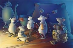 Kat gegaan van huis, muizenbegin het dansen Royalty-vrije Stock Afbeelding