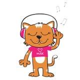 kat het luisteren muziek Stock Afbeelding