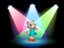 Kat het zingen met schijnwerpers Stock Fotografie