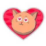 Kat in liefde met vissen op de achtergrond van het hart Stock Afbeeldingen