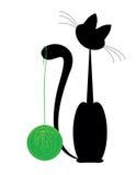 Kat met bal royalty-vrije illustratie